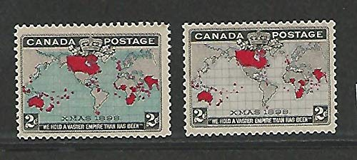 Canada, Postage Stamp, 85-86 Mint LH, 1898 Map Christmas, JFZ