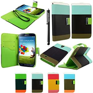 TopOnDeal TM White Blue Brown Wallet Carrying case Cover Flip Pouch+Stylus Touch Pen for Samsung Galaxy S4 S IV i9500 Phone Accessory.