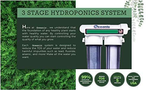 ❥ 3 Stage - Hydroponics Reverse Osmosis Water Filtration System | 75 GPD | Plant Growth Hydroponic System 3