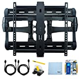 Sanus HDpro Full-motion Dual Arm Mount (XF228) 42''-84'' TVs (Extends 28'') w/ Bundle includes, Screen Cleaning Kit, Magnetic Stud Finder, Carpenter Pencil, Microfiber Cleaning Cloth, 2 HDMI Cables