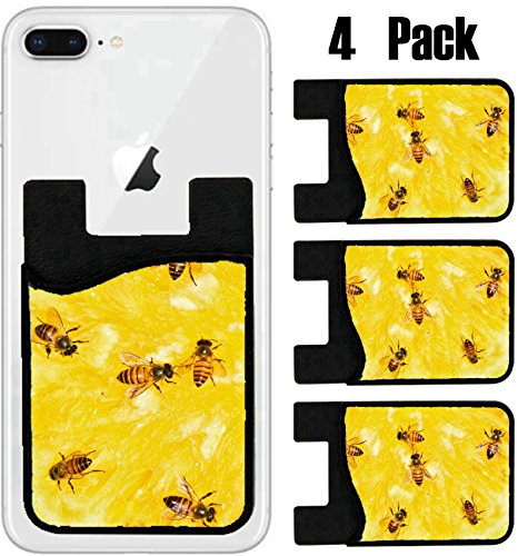 MSD Phone Card holder sleeve wallet for iPhone Samsung Android and all smartphones with removable microfiber screen cleaner Silicone card Caddy(4 Pack) IMAGE ID 20088224 The bees suck nectar from - Order Nectar A Card New