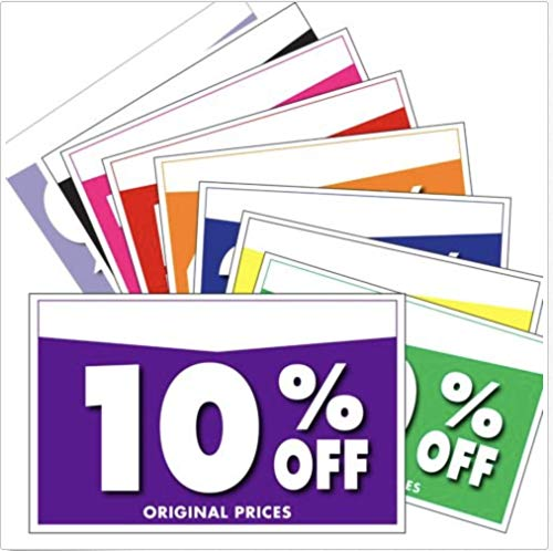 % Off Combo Pack, 100 ASST Retail Sale Signs: New! Signs/Pricing Tags, 5.5