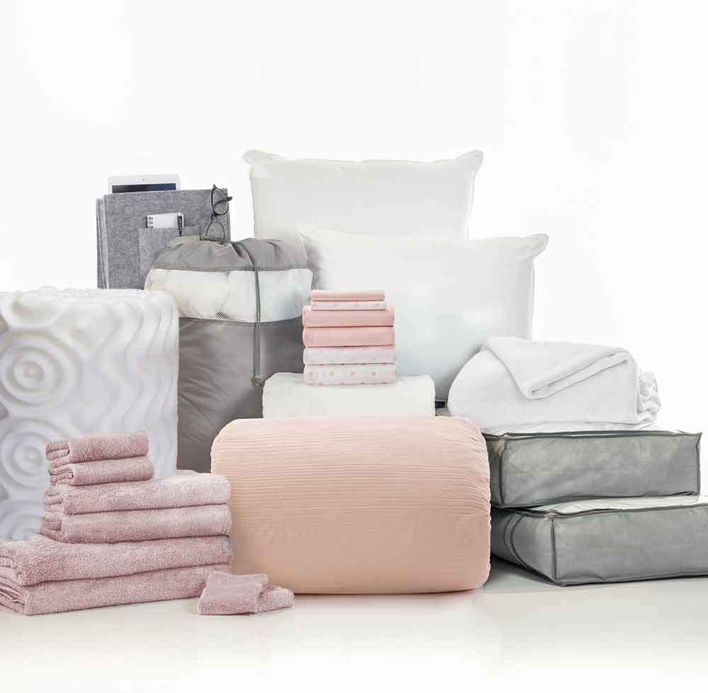 OCM College Dorm Room 24-Piece Complete Campus Pak   Twin XL   with Topper, Comforter, Sheets, Towels, Storage & More   Ashleigh Pink   Ribbed Comforter, Solid & Polka Dot Sheets, Soft Blush Pinks