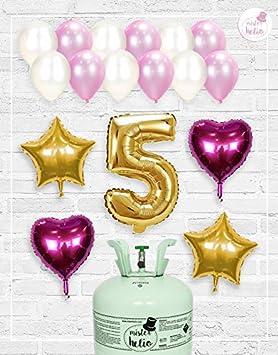 Bombona de Helio Mrhelio+Globos cumpleaños Niña números (Cumple niña 5 años)