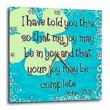 3D Rose Verse John 15-11 Whimsical Flower Bible Christian Inspirational Saying Wall Clock, 10'' x 10''