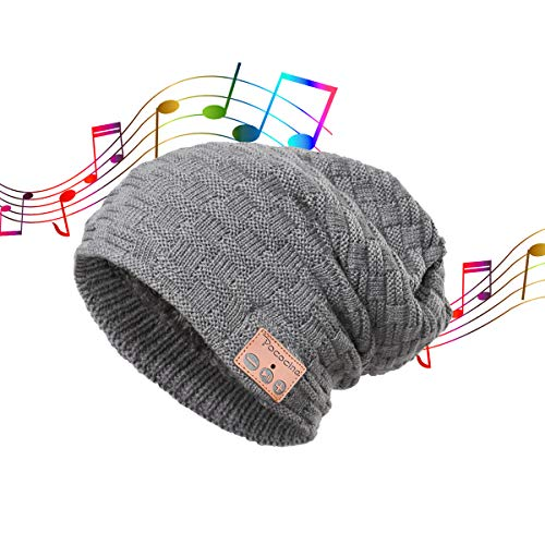 Slouchy Beanie for Women Men Double Layer Plush Inner Knit Music Skully Hat Bluetooth Skullies ()
