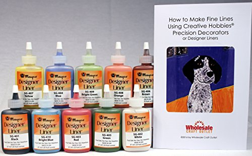 Mayco Designer Liner Ceramic Glaze Writers - 1.25 Ounce each, Kit of All 10 Colors plus Free Instructional - Clay Designer