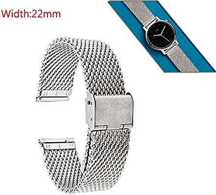 GOOQ Metal Stainless Steel 22mm Mesh Watch Band for Moto 360 2nd ...