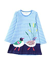 Little Girls Cute Casual Cotton Animals Printed Stripe Long Sleeve Playwear Dress