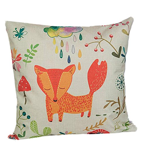 Festival Pillow Case, Winhurn Animal Cartoon Fox Sofa Bed Home Decoration Cushion Cover (C) (Cartoon Tombstone)