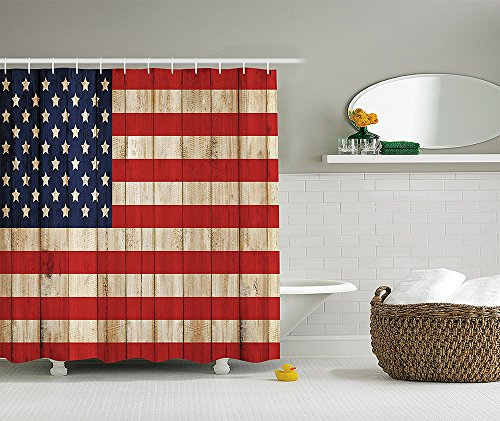 [American Flag Shower Curtain USA Decor by Independence Day Concept and Damaged Wooden Fence with USA Flag Pattern Polyester Fabric Bathroom Set with Hooks Red] (Costume Design Concept Statement)