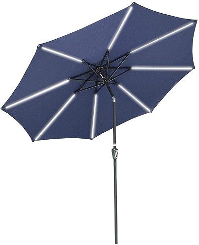 Yescom 9ft 8 Ribs Solar Powered Patio Umbrella