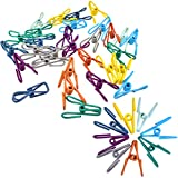 MWOnline Metal Clip Multi-Function Colorful Utility Bag Clip Bundle Clothespin Photo Paper Peg Pin Art Craft Décor for Home Laundry School Office 40Pcs Assorted Color