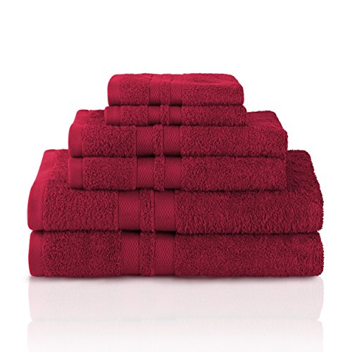 Superior 100% Premium Cotton Ultra Soft 6 Piece Towel Set, 2 Bath Towels, 2 Hand Towels, and 2 Washcloths with Unique Honeycomb Double Border, Maroon -