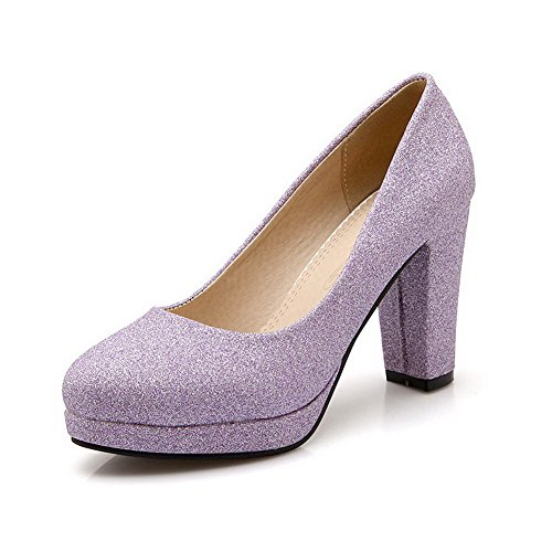 VogueZone009 Women's Pull-On High-Heels Sequins Solid Round Closed Toe Pumps-Shoes Purple ei3y9MHUsa