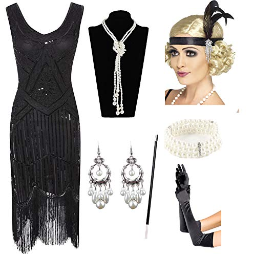 1920s Gatsby Sequin Fringed Paisley Flapper Dress with 20s Accessories Set (L, -
