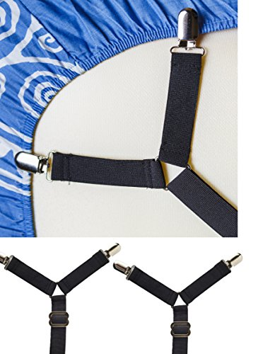 Adjustable Criss-Cross Bed Sheet Straps Suspenders / Bed She