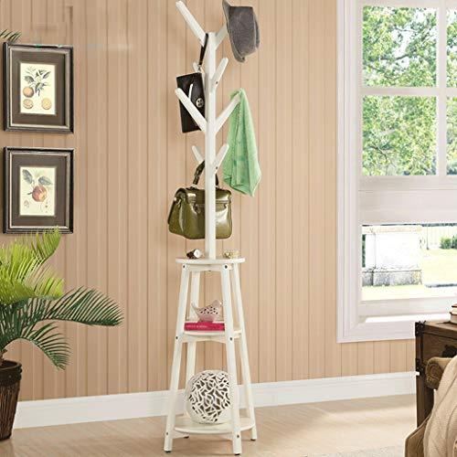 Zcx Manteau Américain Chambre Étagère En Bois Massif Simple Cintre Créatif Salon Maison Plancher Combinaison Multi-couche De Stockage (Color : White)