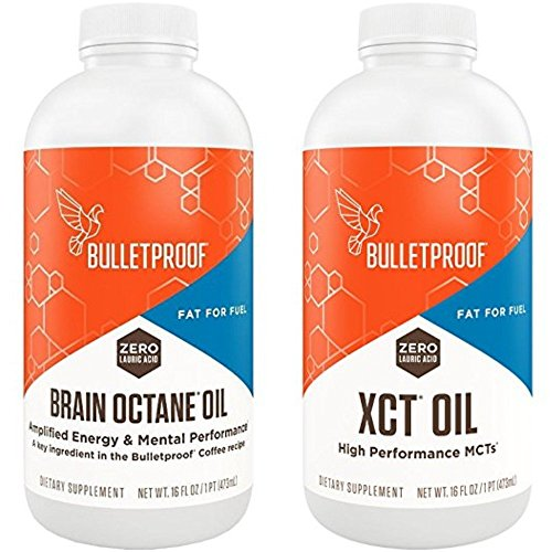 Bulletproof Brain Octane Oil & XCT Oil Reliable and Quick Source of Energy 16 Ounces (Variety Pack)