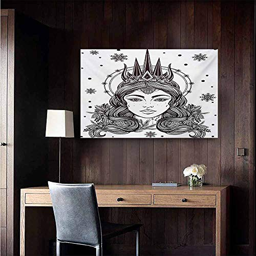 duommhome Queen Art Oil Paintings Beautiful Fantasy Snow Queen Hand Drawn Art Winter Spirituality Boho Mythical Canvas Prints for Home Decorations 47