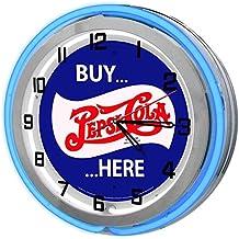 "Vintage Pepsi Blue 18"" Double Neon Garage Clock from Redeye Laserworks"