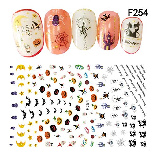 Halloween Nail Sticker Nail Decoration Horror Design (A)