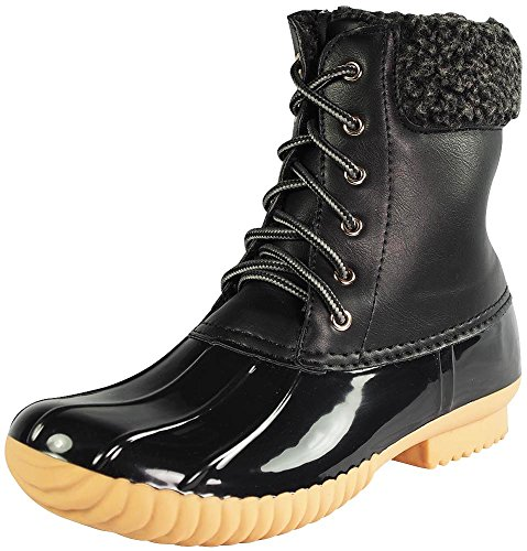 Nature Breeze Women's Duck-02 Lace Up and Zipper Waterproof Insulated Boot (Black, 9)