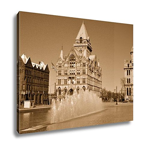 Ashley Canvas Syracuse Savings Bank Building Left And Gridley Building Right At Clinton, Kitchen Bedroom Living Room Art, Sepia 24x30, AG6086032 (America Bank Of York Syracuse New)