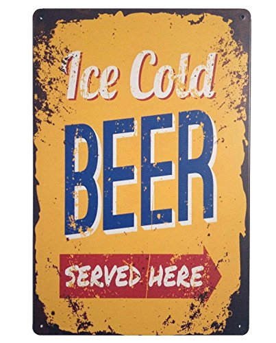 ERLOOD ICE Cold Beer Served Here Retro Vintage Tin Sign 12