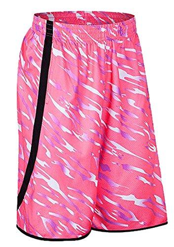 Pandapang Men's Quick Dry Loose Elastic Waist Camo Basketball Shorts Pink XXX-Large (Silk Basketball Shorts)