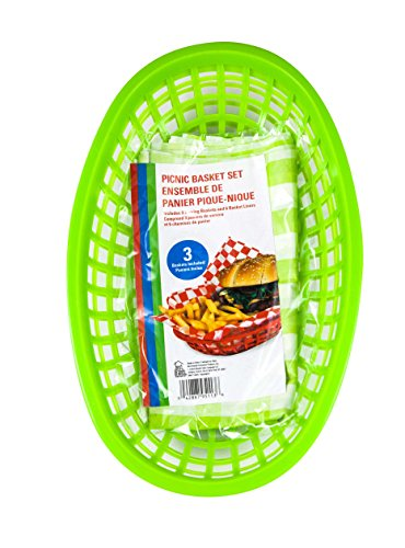 Sandwich and Chips Picnic Basket, Green, 3-pack (9 Baskets and 18 Liners) -