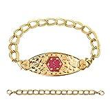 Divoti Custom Engraved PVD Gold Cherry Blossom Medical Alert Bracelet -Double Link Chain-TP Magenta-7.0''