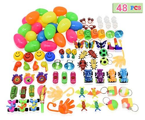 Toys Filled Easter Eggs, 48 Pieces - Filled Surprise Eggs, Colorful Prefilled Plastic Easter Eggs with Different Kinds of Little Toys - Perfect for Easter Egg Hunt for Kids