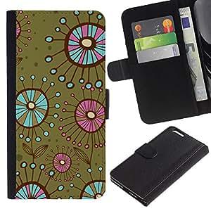 For Apple iPhone 6 Plus(5.5 inches),S-type® Bacteria Flowers Green Teal - Dibujo PU billetera de cuero Funda Case Caso de la piel de la bolsa protectora