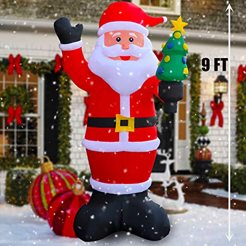 SEASONBLOW 9 Ft LED Light Up Inflatable Christmas Santa Claus with Xmas Tree Decoration for Yard Lawn Garden Home Party Indoor Outdoor from SEASONBLOW
