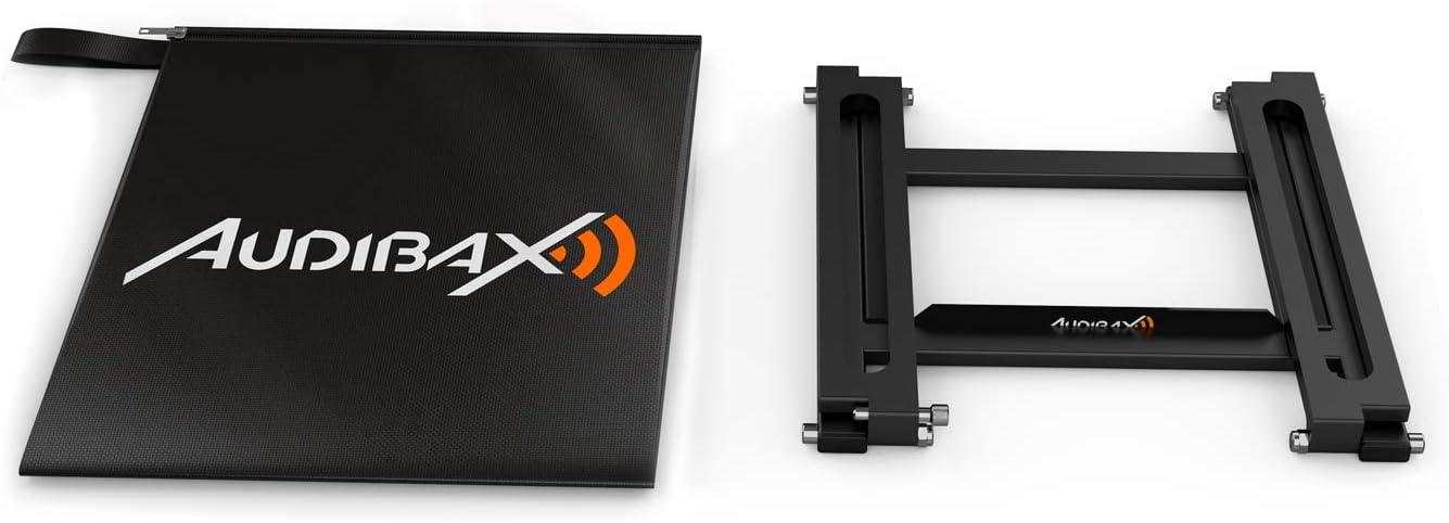 Bandeja Extra/íble Bolsa de Transporte Incluida TOP-20 Soporte para Port/átil DJ Hecho en Aluminio Altura 28,5 cm Estructura Plegable Color Negro Audibax