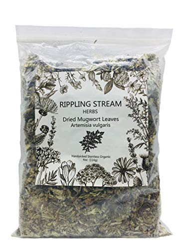 Ripple Stream Mugwort herb Pure Leaves Fine Picked Bulk Nil Stem, Stalk, Organic Artemisia vulgaris Chemical Free - 4 ounce (Organic)