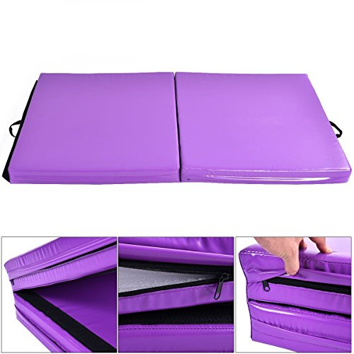 "Giantex 6'x3.2'X4"" Thick Two Folding Panel Gymnastics Mat Fitness Exercise Purple"