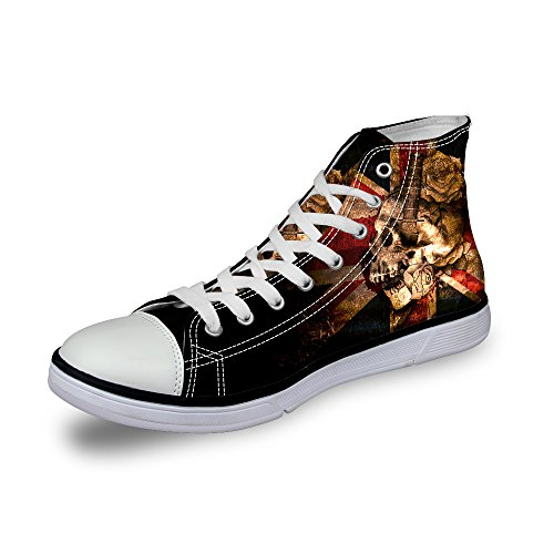 Frestree Personalized 3D Printed Fashion Canvas Sneaker High Top Lace Casual Shoes