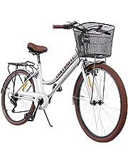 Centurfit Bicicleta Estilo Vintage Retro Clasica Urbana 6 Velocidades Rodada 26 con Canastilla Salpicaderas Frenos V.Break Asiento Ajustable Diseño Original Excelente Calidad Color Blanco