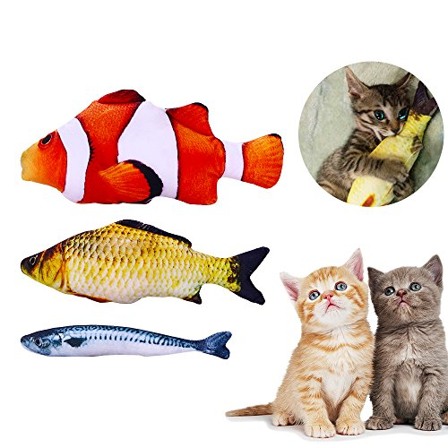 Anfire Fish Toys Cat, Interactive Catnip Simulation Fish Toys Chew Pillow Cat, Kitty, Kitten, Puppy, Ferret, Rabbit (3 Pack)