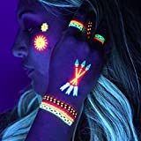 UV Temporary Tattoos: Daytime and Blacklight Colored Tattoos - Rave, Neon, Festival, Club, Henna, Yoga, Glow In The Dark Tattoos by Festival World (Pattern Design #1)
