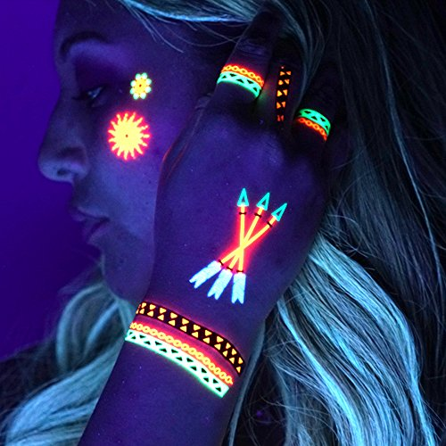 UV Temporary Tattoos: Daytime and Blacklight Colored Tattoos - Rave, Neon, Festival, Club, Henna, Yoga, Glow In The Dark Tattoos by Festival World (Pattern Design #1)  -