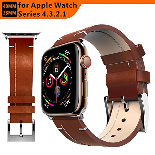 tagcmc Compatible with Apple Watch Band 38mm 40mm, Genuine Leather Watch Strap Compatible with Apple Watch Series 4 (40mm) Series 3 Series 2 Series 1 (38mm) Sport and Edition(Brown)