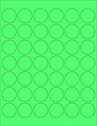 ChromaLabel 1-1 4 inch Round Labels for Laser & Inkjet Printers | 1 - 050 Pack (Fluorescent Green)