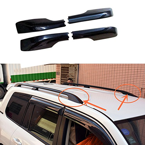 HIGH FLYING Plastic 4PCS Roof Rails Rack End Cap Protection Cover Shell For Toyota Land Cruiser LC200 2008-2016 (Black front & back)