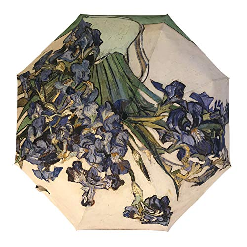 Unica Automatic Umbrella Irises by Vincent Van Gogh Compact Travel Windproof Rainproof Foldable Umbrella