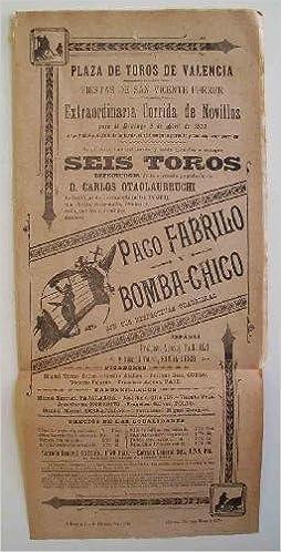 CARTEL Plaza de Toros de Valencia - Abril 1899 - PACO ...