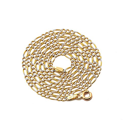 LOVEBLING 10K Yellow Gold 2mm Solid Pave Two-Tone Figaro Chain Necklace with Spring Lock (28)