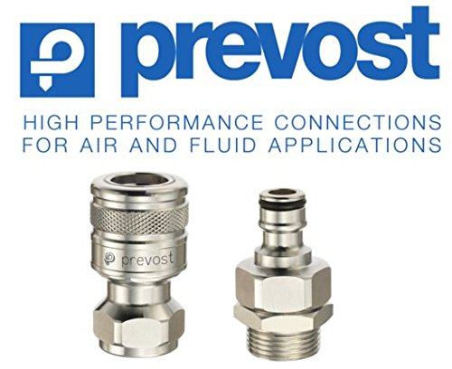 """Prevost Quick-Coupler for Garden Hose Connection, (1) Coupler and (1) Male Plug-Connector, Valved - Terminating Water Flow Upon Disconnect, 3/4"""" Garden Hose Thread (GHT), Chrome Plated Brass"""